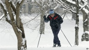 Man Using Cross Country Skis On The Esplanade In Boston