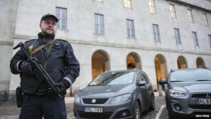 Armed Officer Outside Copenhagen Police Headquarters