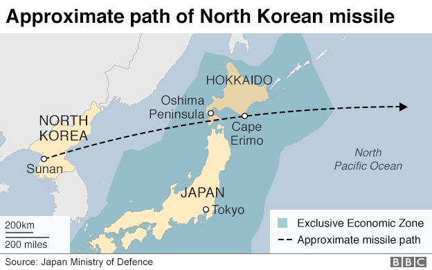 Missile Over Northern Japan Fired By North Korea